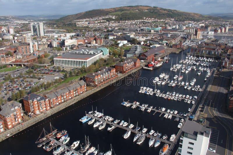 Panoramautsikt av den Swansea hamnen - Swansea, Wales, UK arkivfoton