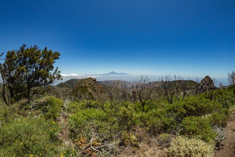 Panoramautsikt av den Tenerife ön med vulkan Teide ovanför horisont och Los Roques maxima nära den Garajonay nationalparken på La royaltyfri fotografi