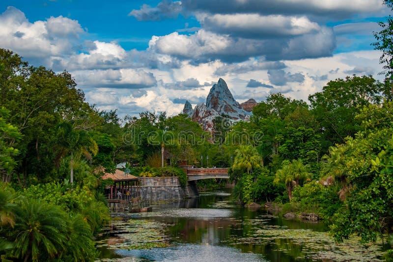 Panoramautsikt av det expeditionEverest berget, floden och rainforesten i djurriket royaltyfria bilder