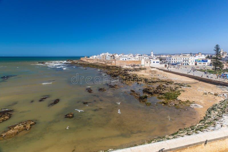Panoramautsikt av Essaouira den gamla staden och havet, Marocko fotografering för bildbyråer