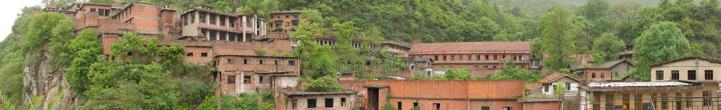 Panoramautsikt av ett öde kinesiskt fängelse i berget arkivfoto
