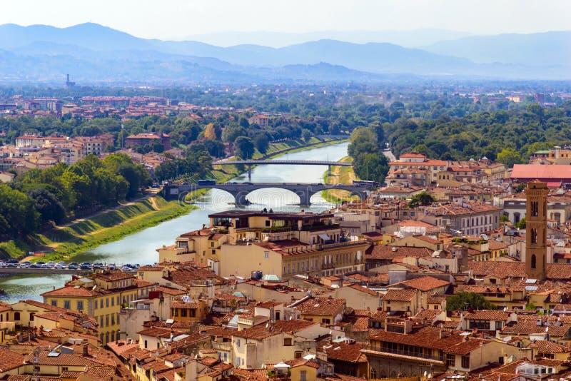 Panoramautsikt av Florence, forntida italiensk stad royaltyfri bild