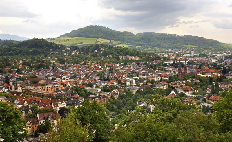 Panoramautsikt av Freiburg im Breisgau germany royaltyfri fotografi
