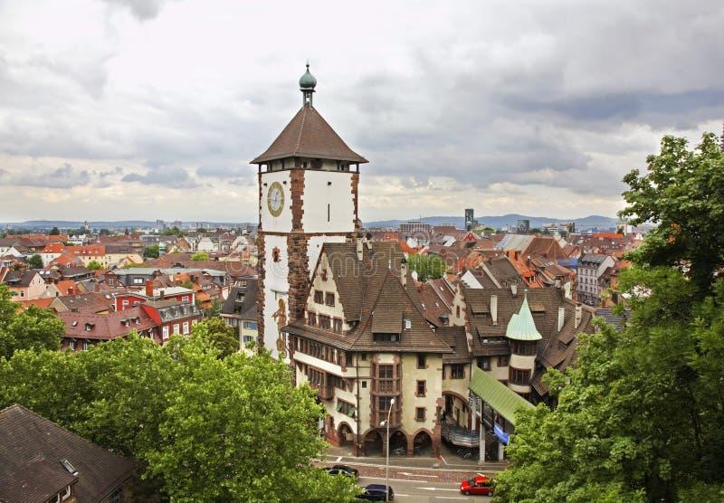Panoramautsikt av Freiburg im Breisgau germany royaltyfri foto