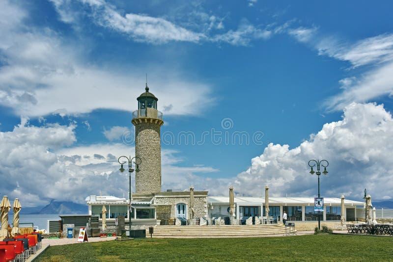 Panoramautsikt av fyren i Patras, Peloponnese, Grekland arkivfoton