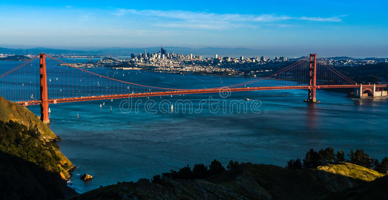 Panoramautsikt av Golden gate bridge i San Francisco arkivbilder