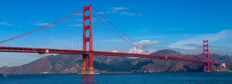 Panoramautsikt av Golden gate bridge i San Francisco, Kalifornien royaltyfri bild