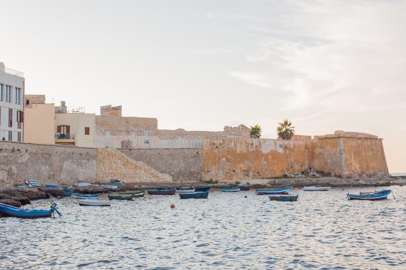 Panoramautsikt av hamnen i Trapani med fiskebåtar, Sicilien, Italien arkivbild