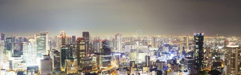 Panoramautsikt av horisont i Osaka, Japan arkivbild
