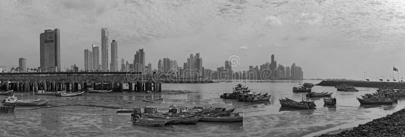 Panoramautsikt av horisonten av Panama City i svartvitt royaltyfria foton