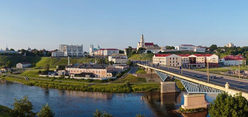 Panoramautsikt av i stadens centrum Grodno Vitryssland royaltyfria bilder