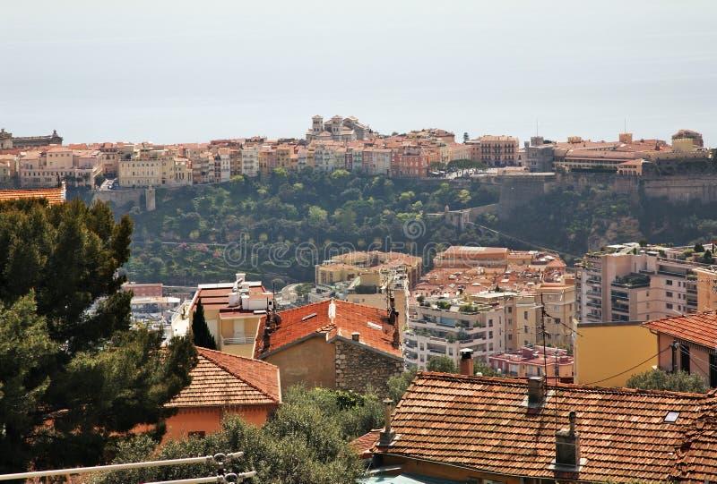 Panoramautsikt av Kanton de Beausoleil och Monaco france arkivbilder