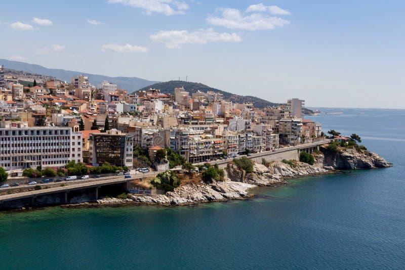 Panoramautsikt av Kavala, Grekland arkivbild