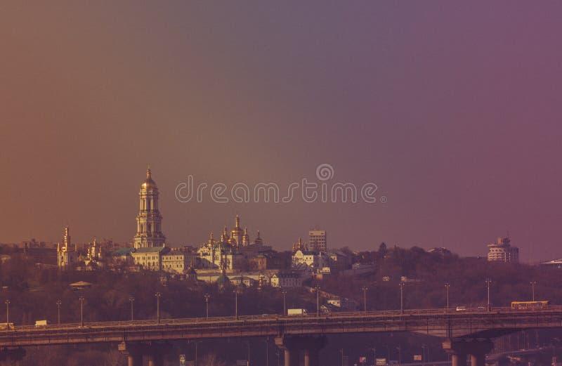 Panoramautsikt av Kiev Pechersk Lavra Orthodox Monastery i Kiev, Ukraina arkivbilder
