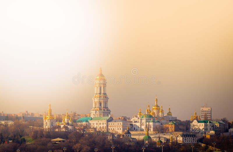 Panoramautsikt av Kiev Pechersk Lavra Orthodox Monastery i Kiev, Ukraina royaltyfria foton