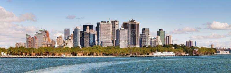 Panoramautsikt av lägre Manhattan horisont arkivfoton