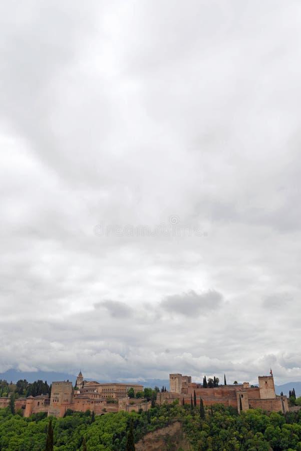 Panoramautsikt av La Alhambra grenada arkivbilder