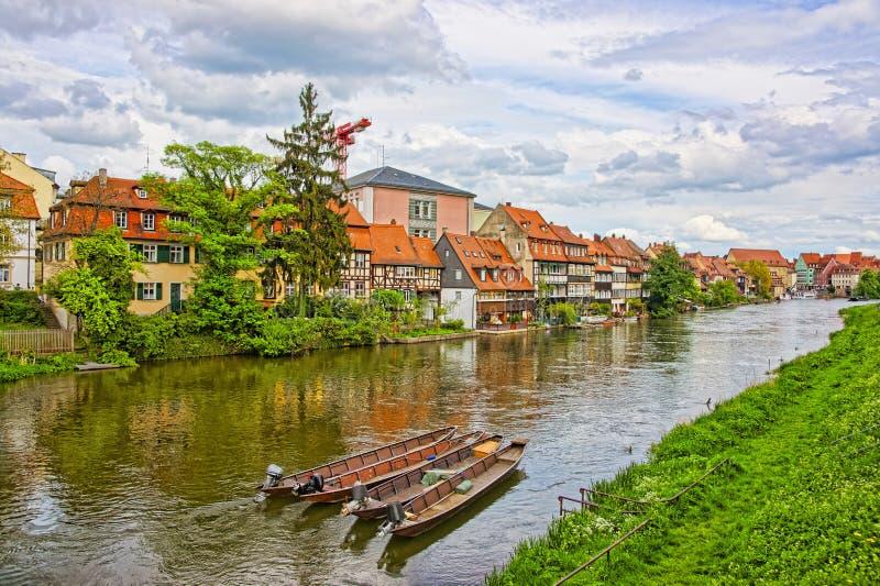 Panoramautsikt av lilla Venedig i Bamberg i Tyskland arkivfoton