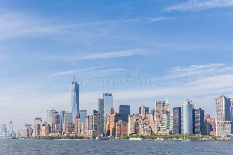 Panoramautsikt av Lower Manhattan, New York City, USA royaltyfria bilder
