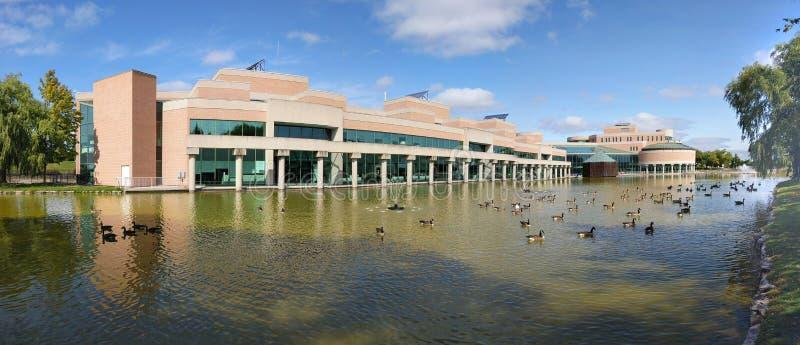 Panoramautsikt av Markham Civic Center arkivbild