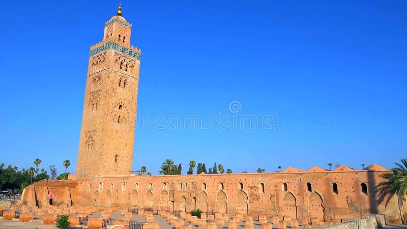Panoramautsikt av Marrakech och gamla medina, Marocko royaltyfri bild