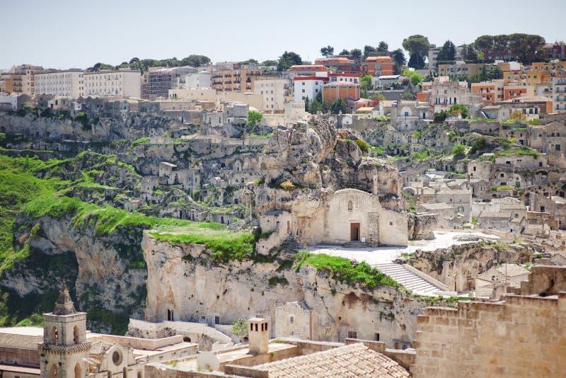 Panoramautsikt av Matera Sassi di Matera, europeisk huvudstad av kultur 2019, Italien arkivbild