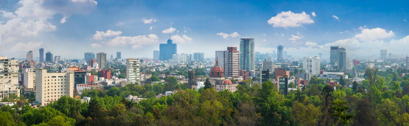 Panoramautsikt av Mexico - stad royaltyfria bilder