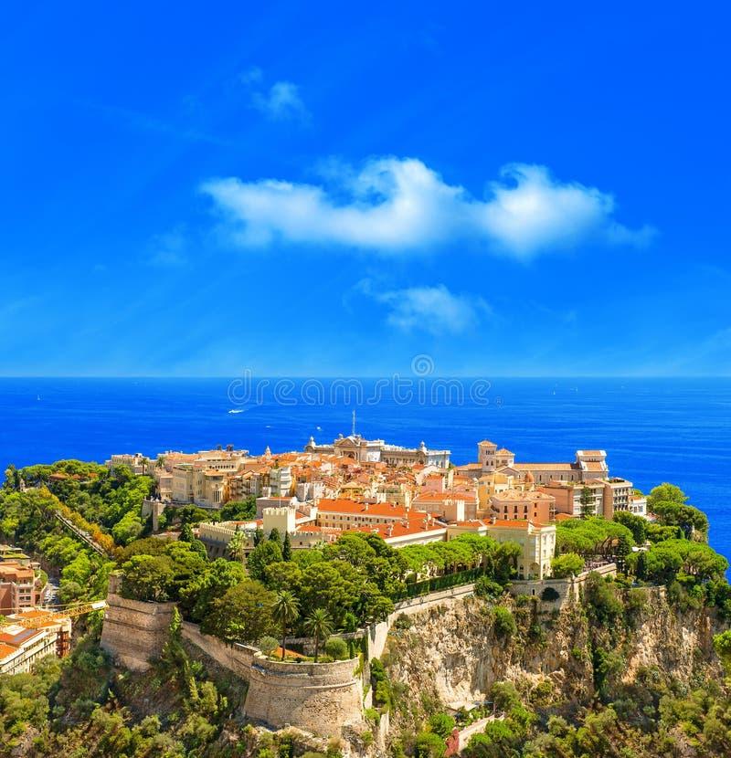 Panoramautsikt av Monaco. Medelhav arkivbild