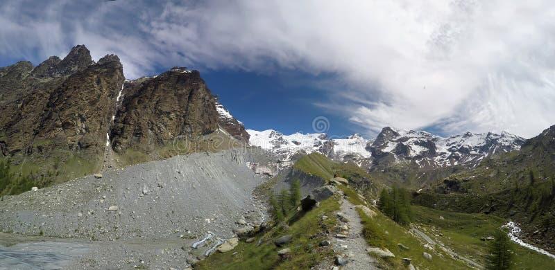 Panoramautsikt av Mont Blanc arkivfoton