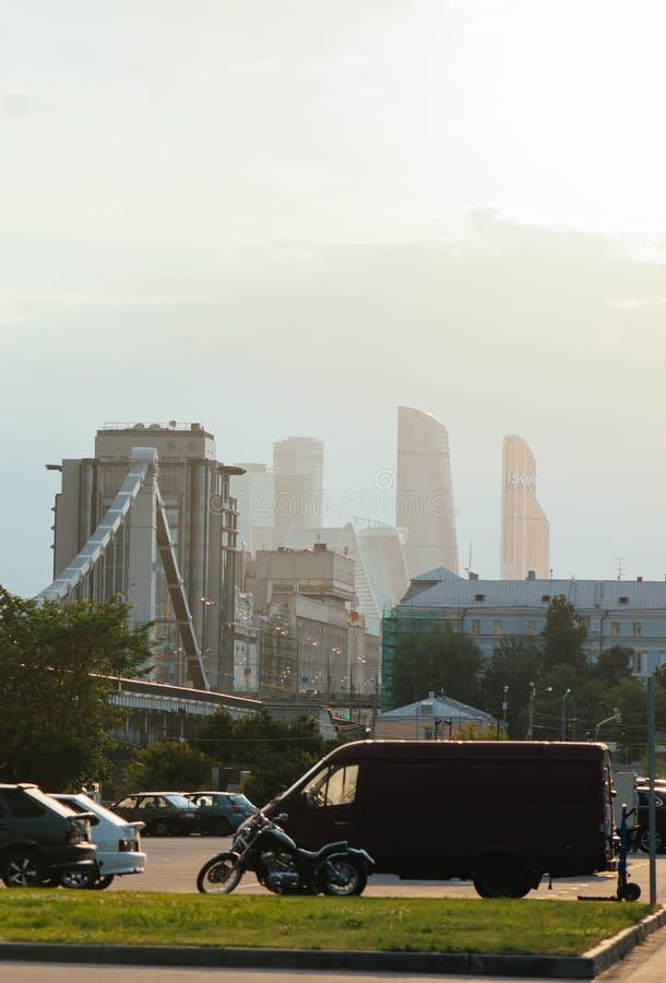 Panoramautsikt av Moskva i aftonen royaltyfria bilder