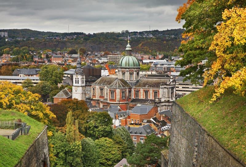 Panoramautsikt av Namur _ arkivbild