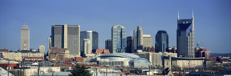 Panoramautsikt av Nashville, Tennessee Skyline i morgonljus arkivbild