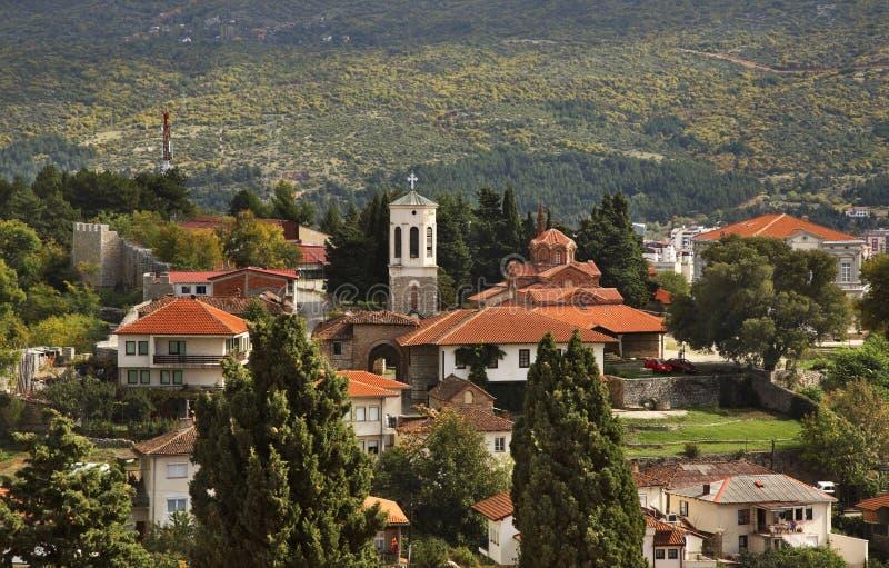 Panoramautsikt av Ohrid macedonia arkivfoto