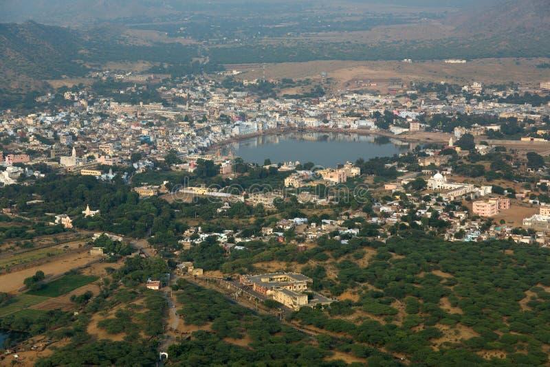 Panoramautsikt av Pushkar royaltyfria foton