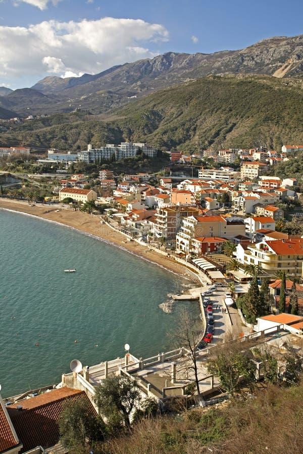 Panoramautsikt av Rafailovici Montenegro royaltyfri foto