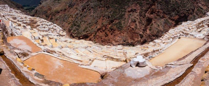 Panoramautsikt av Salt damm, Maras, Cuzco, Peru arkivbild