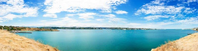 Panoramautsikt av Sevastopol, Krim, Ukraina fotografering för bildbyråer