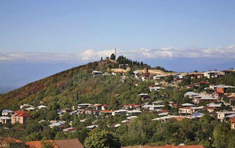 Panoramautsikt av Sighnaghi Kakheti georgia royaltyfria bilder