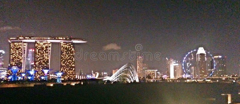 Panoramautsikt av Singapore horisont med Marina Bay Sands och den Singapore reklambladet royaltyfri bild