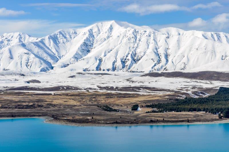Panoramautsikt av sjön Tekapo, Nya Zeeland arkivbild