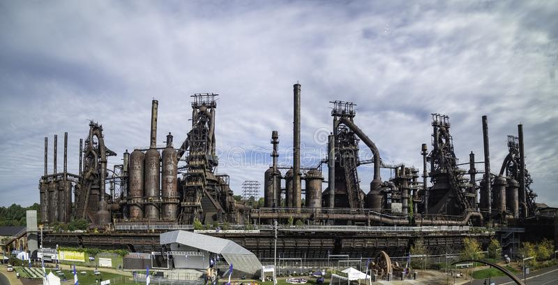 Panoramautsikt av stålfabriken som står fortfarande i Betlehem royaltyfria foton