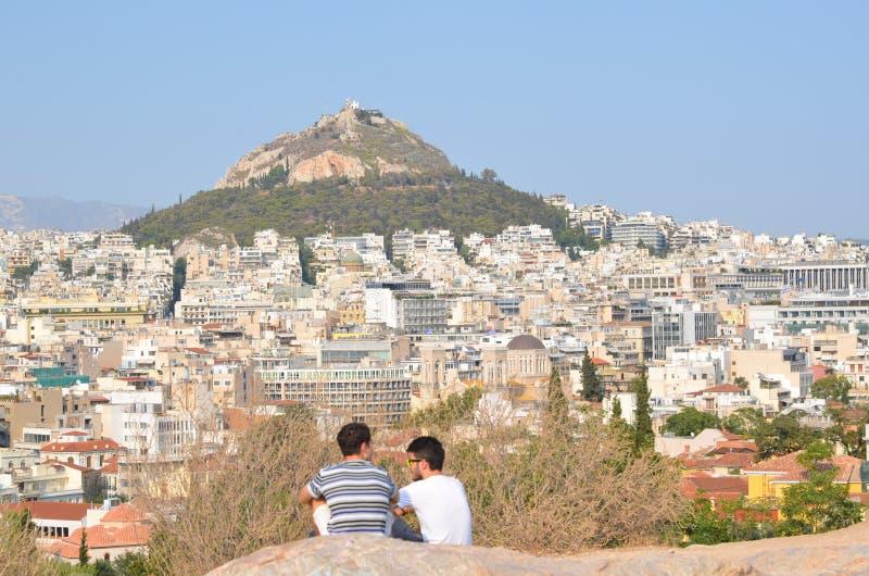 Panoramautsikt av staden av Aten fotografering för bildbyråer