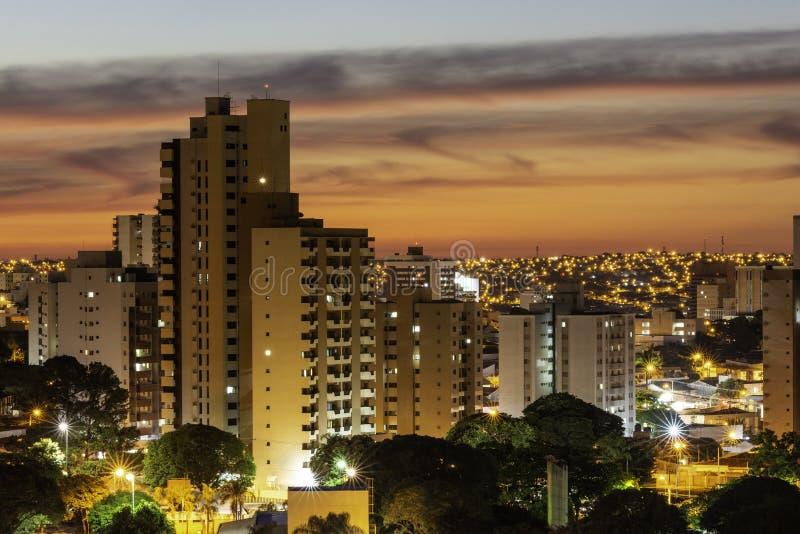 Panoramautsikt av staden av Bauru Inre av tillst royaltyfri foto