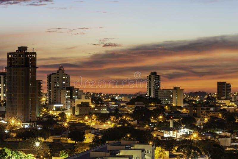 Panoramautsikt av staden av Bauru Inre av tillst?ndet av S?o Paulo _ arkivbilder