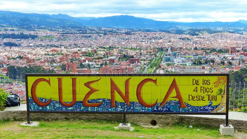 Panoramautsikt av staden Cuenca, Ecuador arkivbild