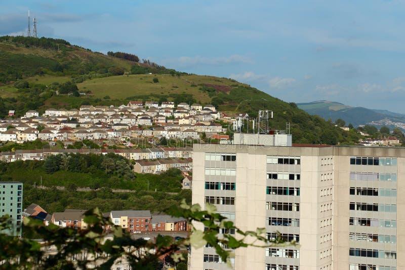 Panoramautsikt av Swansea, Wales UK arkivfoton