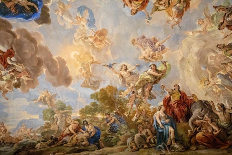 Panoramautsikt av takinre av Palazzo Medici arkivbild