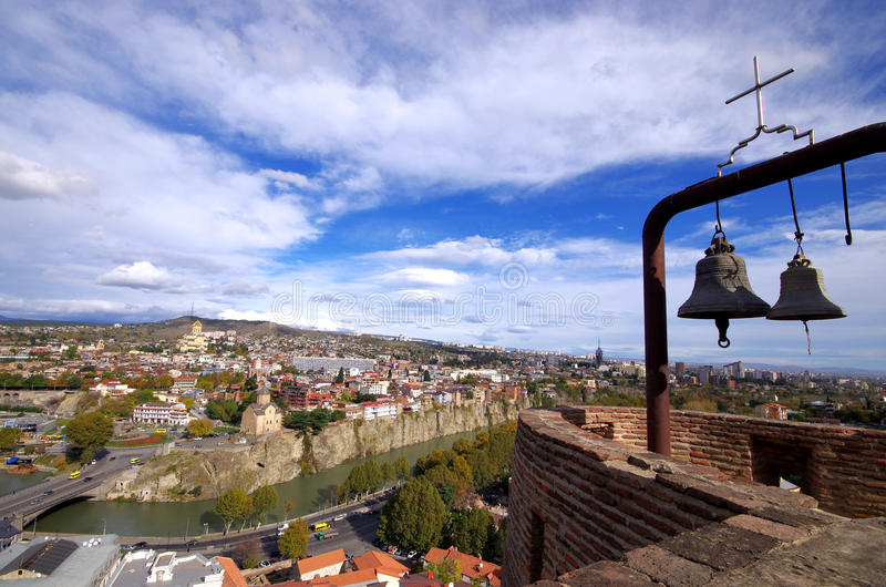 Panoramautsikt av Tbilisi, Georgia arkivbilder