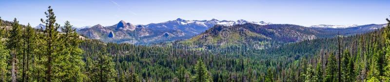 Panoramautsikt av vildmarkområden i den Yosemite nationalparken med vintergröna skogar som täcker dalar och korkade berg för snö royaltyfria bilder