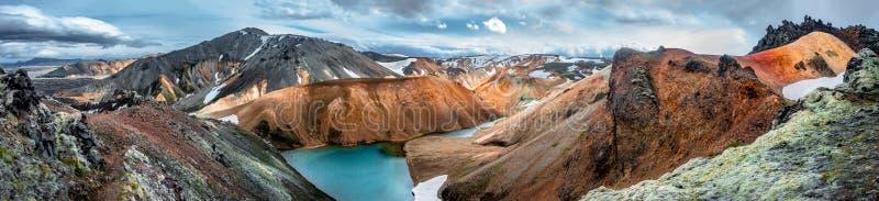 Panoramautsikt av vulkaniska berg Landmannalaugar f?r f?rgrik rhyolite som ren vildmark i Island arkivfoto